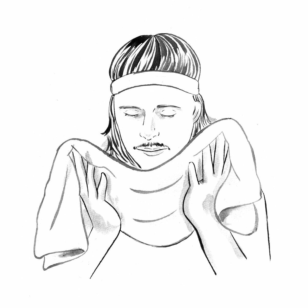 3.洗顔後の水分除去はタオルに委ねる。洗顔後は、顔に付着した泡をしっかりとすすぐこと。特に、髪の生え際やもみあげ、顎などは泡の落とし忘れが多いので要注意だ。そしてすすいだ後は、大きめのタオルを準備し、そこへ顔ごとダイブ!そうすれば、肌を摩擦することなく、水を吸い取るように拭き取ることができるのだ。