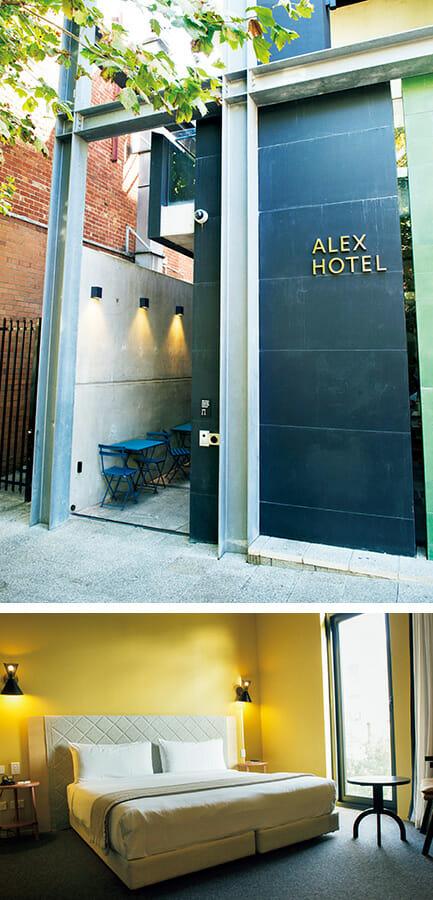 アレックス・ホテルの入口とベッドルーム