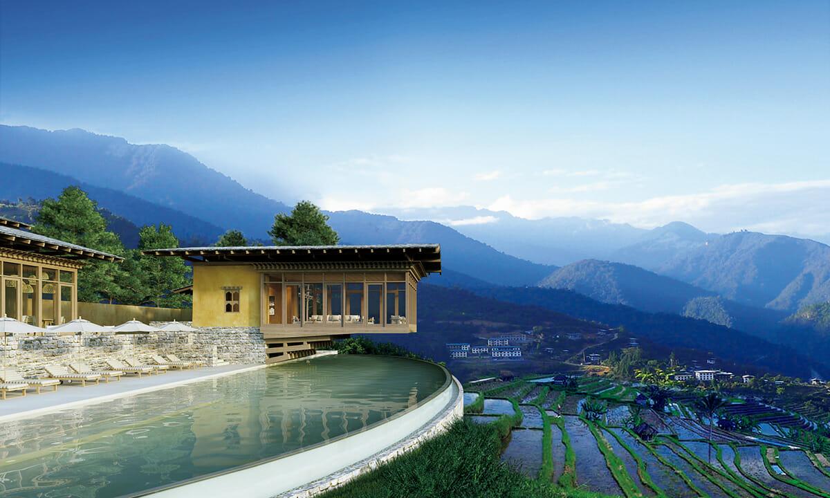 ブータンのブナカ渓谷にあるロッジ