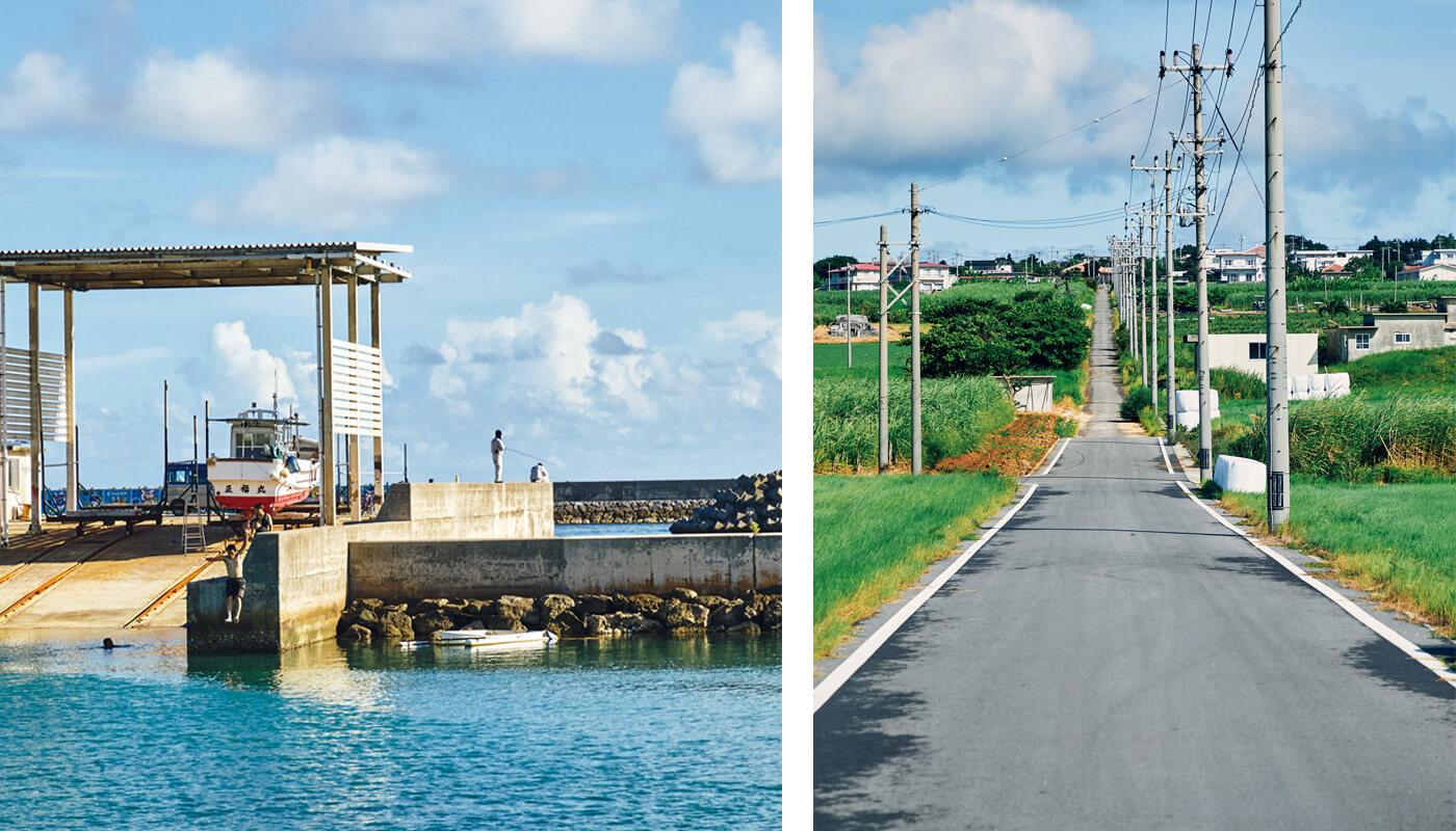 (左)石垣島の港で。少年たちがダイブして遊ぶ。(右)サトウキビ畑の一本道「シュガーロード」。