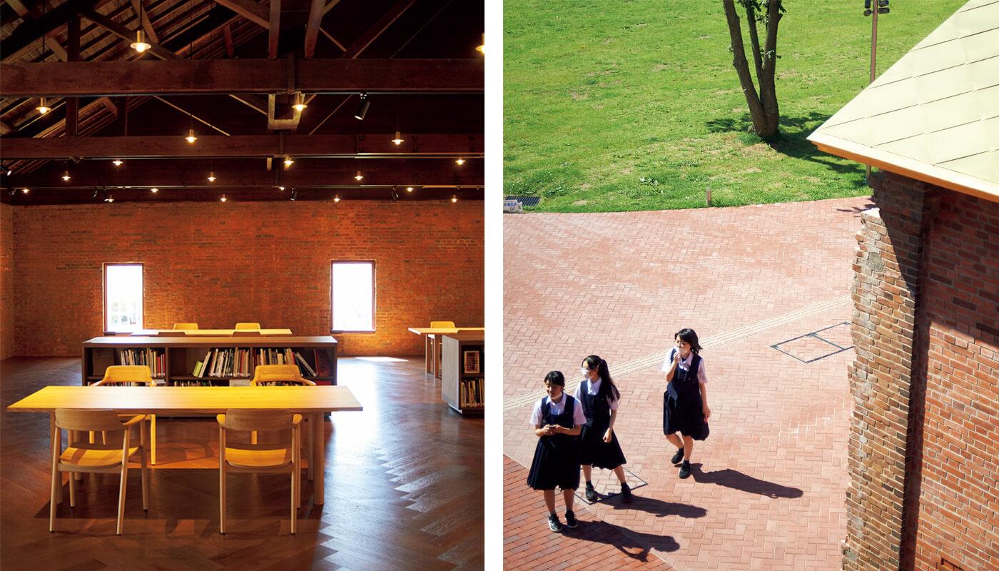 (左)〈弘前れんが倉庫美術館〉。2階にある入場無料のライブラリー。
