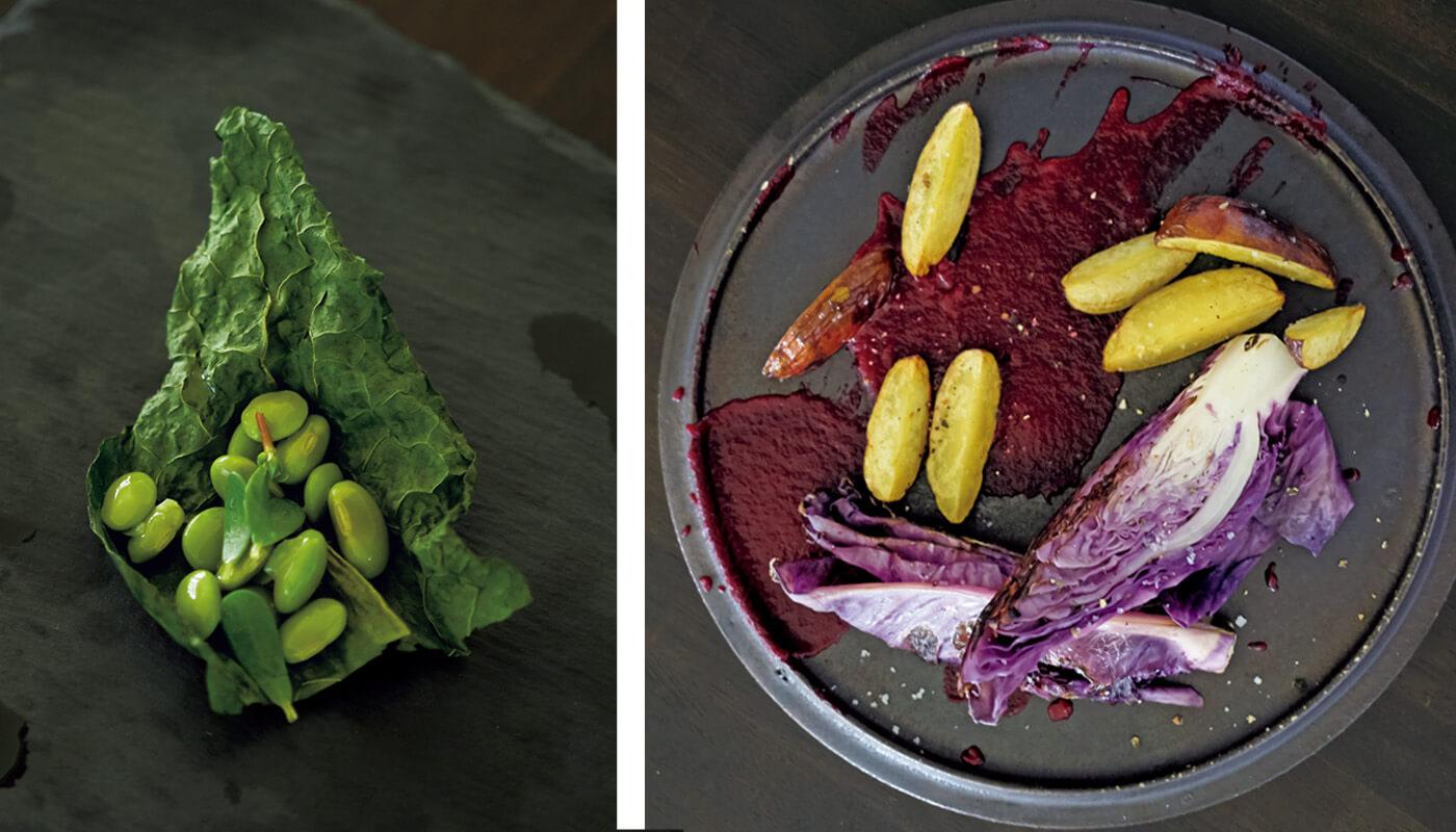 (左)ケールと枝豆による「茂みと森と、不安」。(右)紫キャベツをローストしたメインの一皿。