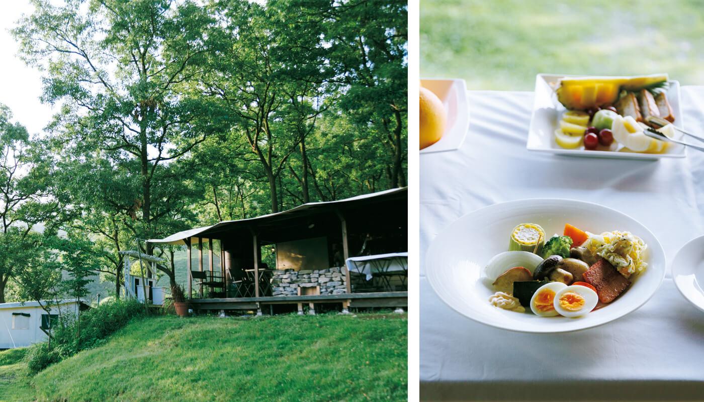 キャンプ場の一角にある〈グランピングリゾートASO〉。季節の野菜をふんだんに使った朝食と、シェフのおまかせBBQスタイルの夕食が自慢。住所:阿蘇郡南阿蘇村大字久石4411-9 | 地図