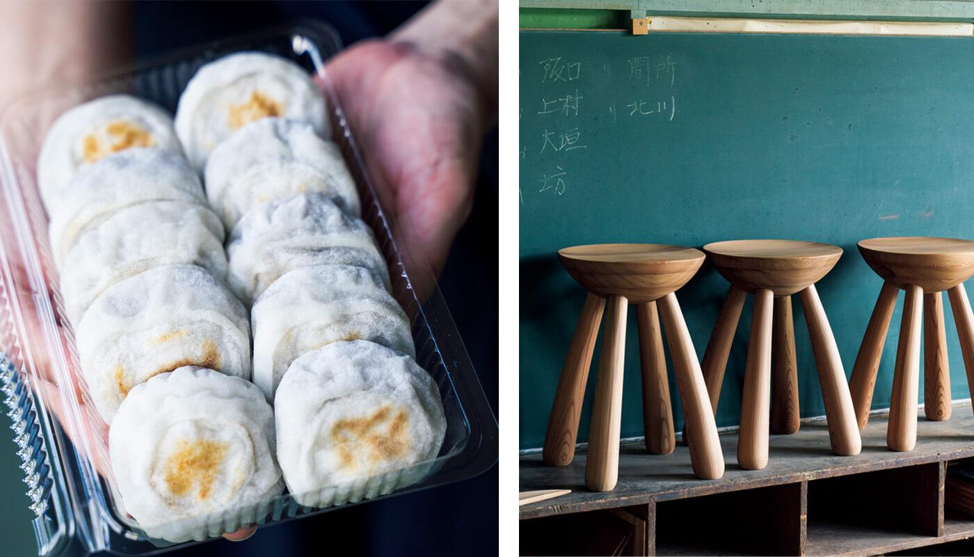 (左)〈こばし餅店〉のやき餅(1個¥100)はこし餡、粒餡入り。住所:吉野郡吉野町立野280 | 地図(右)〈木工森〉。並んでいるのは、きのこスツール(各¥45,000)。