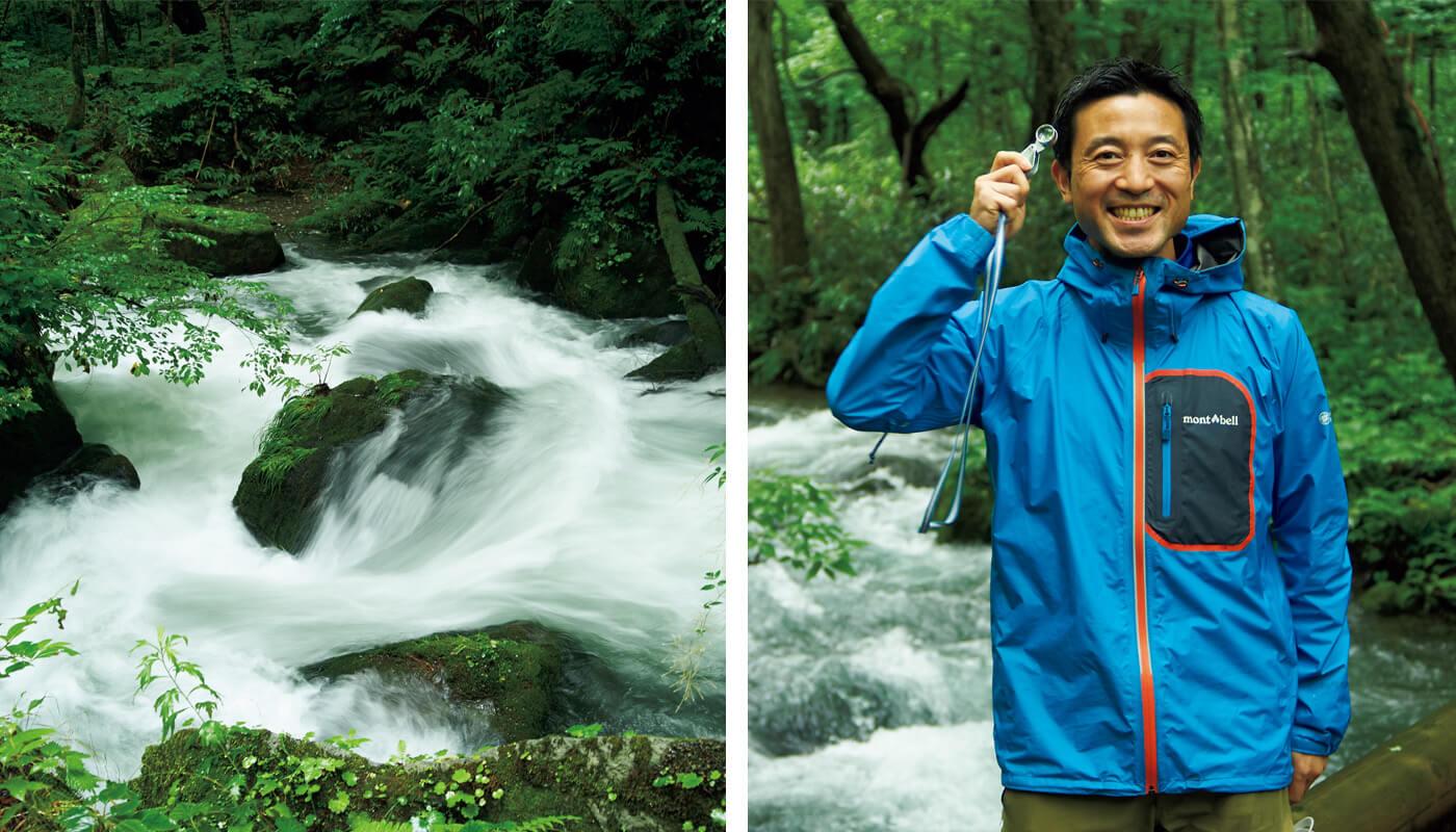 (左)苔むした岩を縫うように急流が走る。(右)森の案内人・丹羽さん。東北の森に魅了され、2008年に奥入瀬に移住したそうだ。