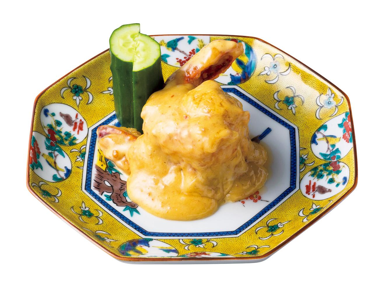 濃厚エビマヨ¥1,200(2本)は、エビ味噌を加えたソースが大きなエビに絡む。