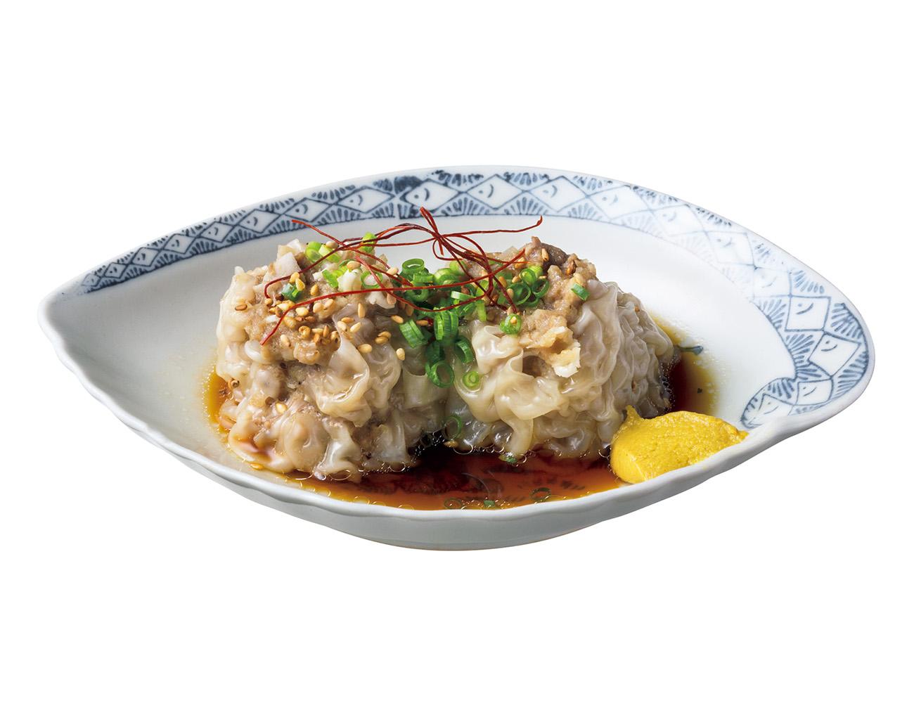 豚舌焼売¥450(2個)は、食感が楽しい角切りのタン入り。