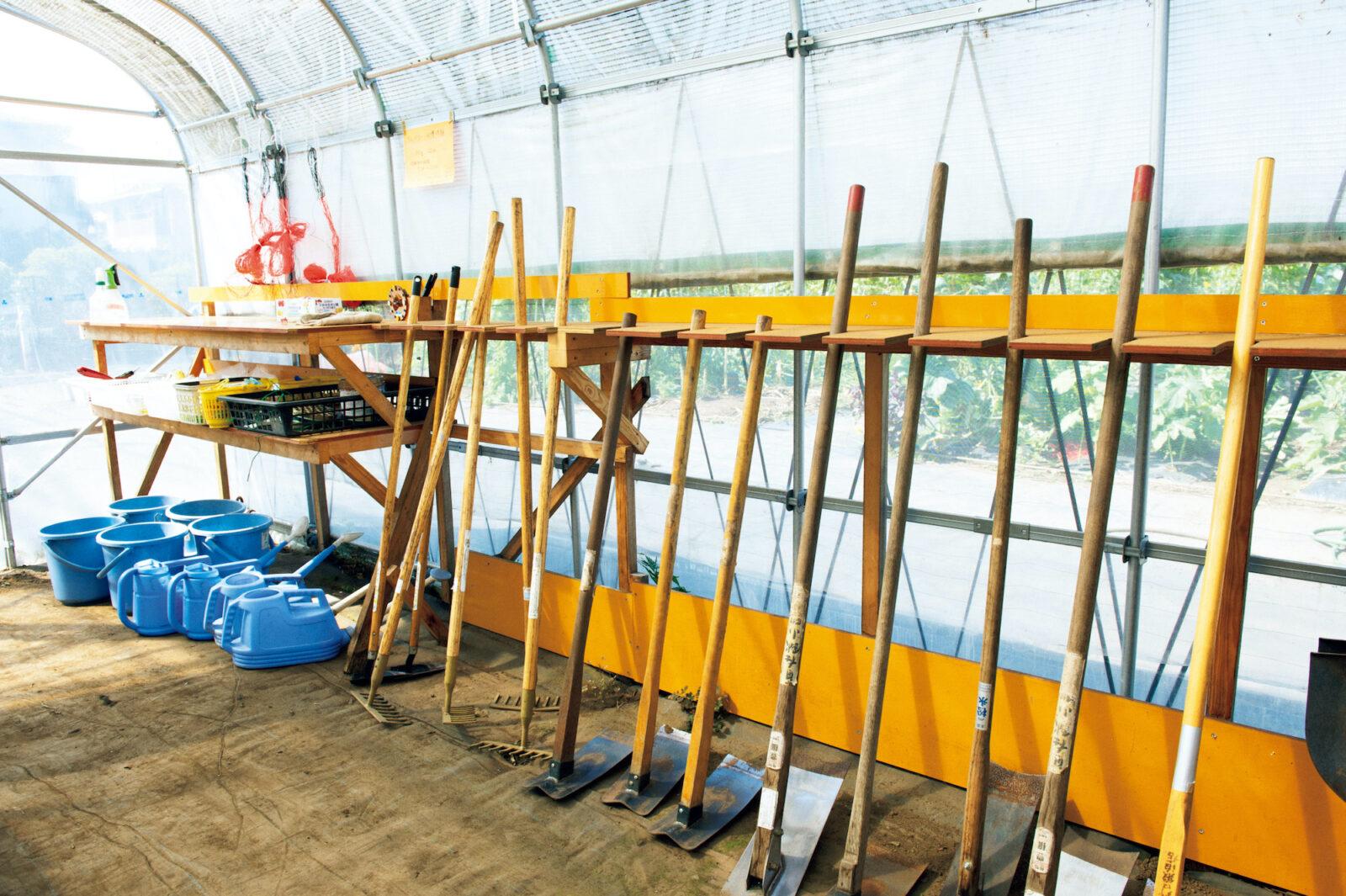 小屋には鋤や鍬など必要な道具が揃っていて貸し出し自由、堆肥の配分などわからないことも教えてもらえる。