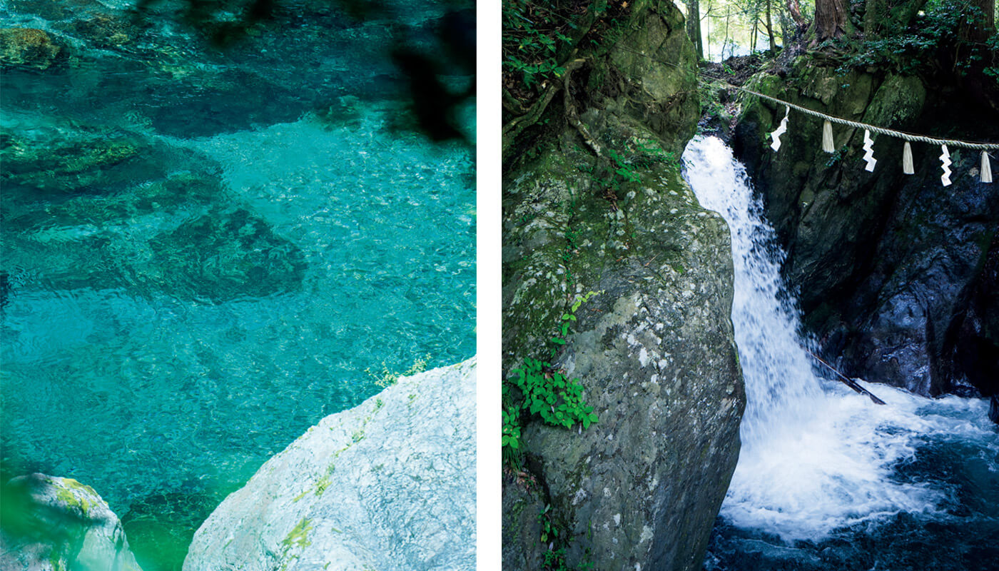 (左)透明度が高い大峯山源流の〈みたらい渓谷〉。(右)水の神様、丹生川上神社本宮近くの東の滝。