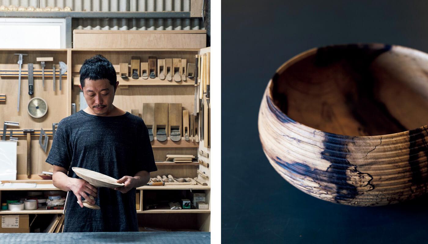 渡邉崇さんによる黒柿のウッドボウル¥65,000。住所:吉野郡川上村東川179 | 地図/Instagram:@moonroundsで要予約。