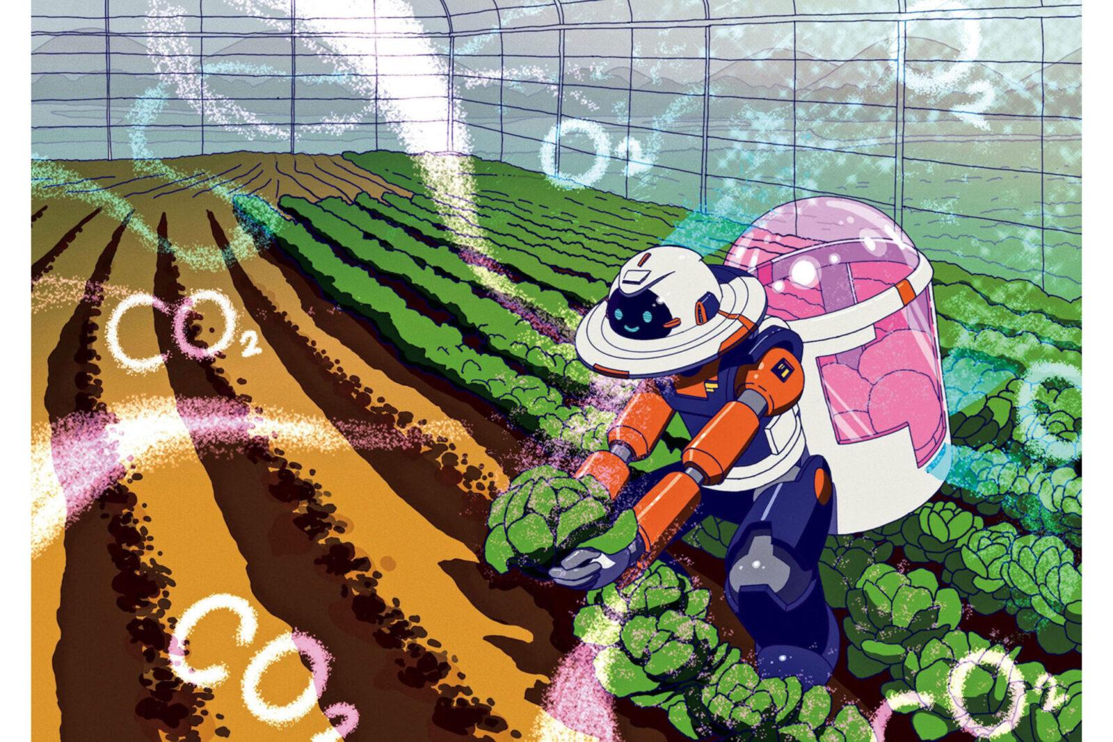 知財 二酸化炭素回収装置「ひやっしー」→妄想 農家お助けロボット「逆人間」自宅から気軽に遠隔で農業を。複数の化学反応のサイクルによって、空気中のCO2のみを単離できる技術が生み出した二酸化炭素回収装置。人間の出すCO2を吸収するだけでなく、エネルギー原料となるメタンを生成することにも役立つ。未来のビニールハウスでは、CO2を吸って生きる農家お助けロボット「逆人間」が活躍し、自動で空気をコントロール。さらにアバターとして操作できるようになれば、後継者不足を補う人材として活用もできるだろう。