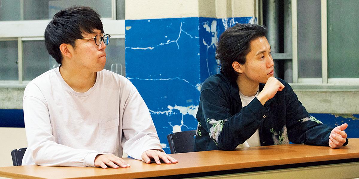 ナイチンゲールダンス中野なかるてぃん(左)、ヤス(右)。NSC東京校22期生。中野さんは一橋大学お笑いサークル〈IOK〉でMr.潜水艦として、ヤスさんは日本大学の〈落語研究会〉でラリアットカンガルーペロンペロンとして活動。2013年にコンビ結成。神保町よしもと漫才劇場に出演中。YouTube『ナイチンゲールダンスチャンネル』で毎週土曜に生配信中。