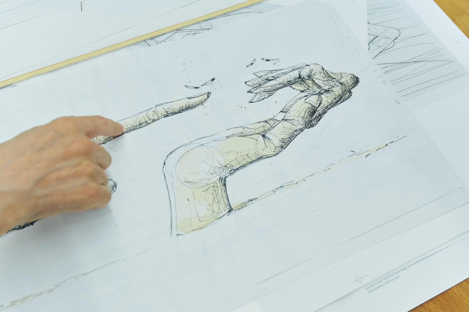「怒れる手」。2本の手が、豊かな表情でやりとりをするドローイング。