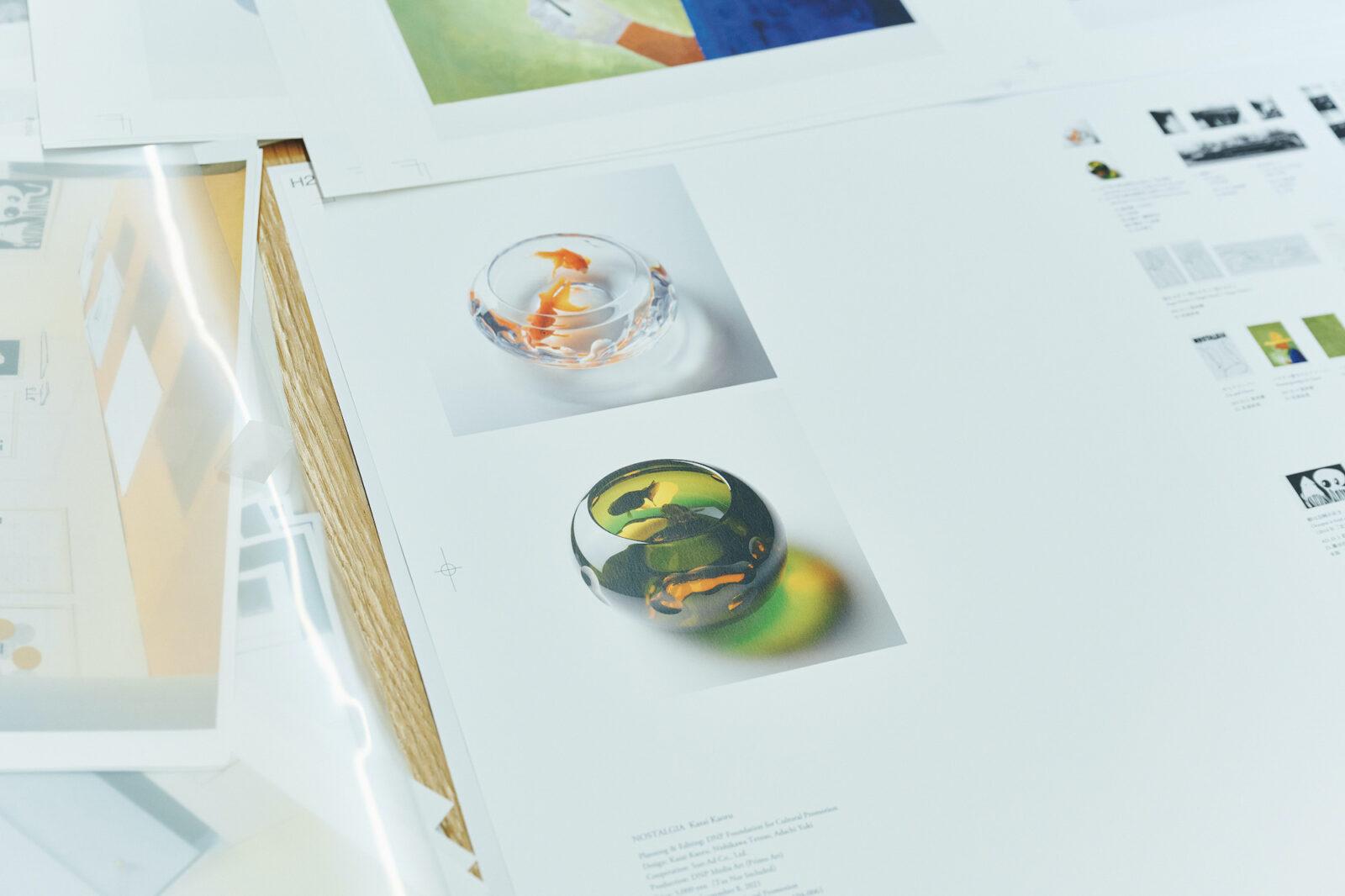 江戸切子「金魚朝」「金魚夕」。木本硝子のプロジェクトで江戸切子の職人2人とコラボレーションした金魚鉢。