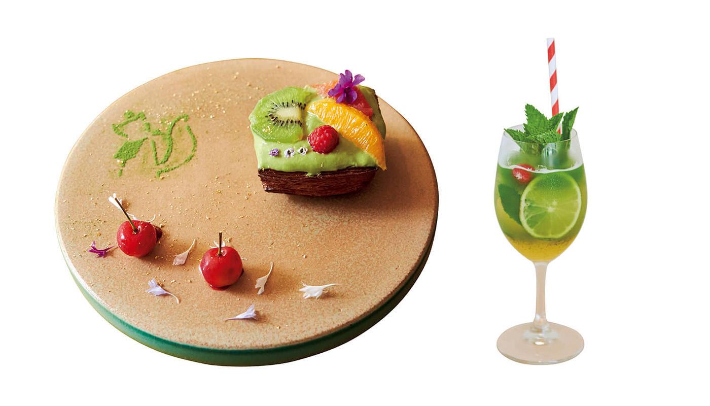 抹茶フルーツデニッシュにパイナップルミントティーが付くINARIモーニングセット¥1,000は11時までの提供。