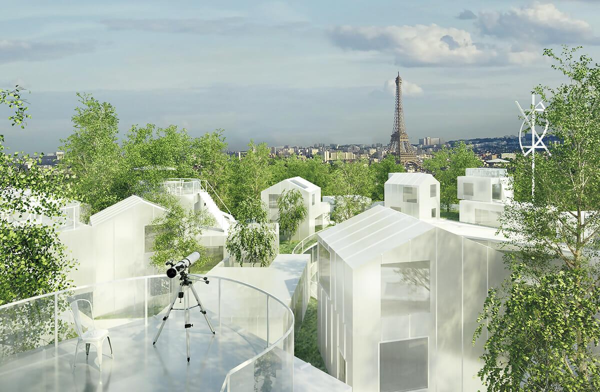 ポルト・マイヨに建設予定で、パリ北西部の緑化計画の中心的存在となる〈ミル・アルブル〉プロジェクト。逆ピラミッド形の建物の屋上には、緑が浮いたように木々が設けられる©SFA+OXO+MORPH