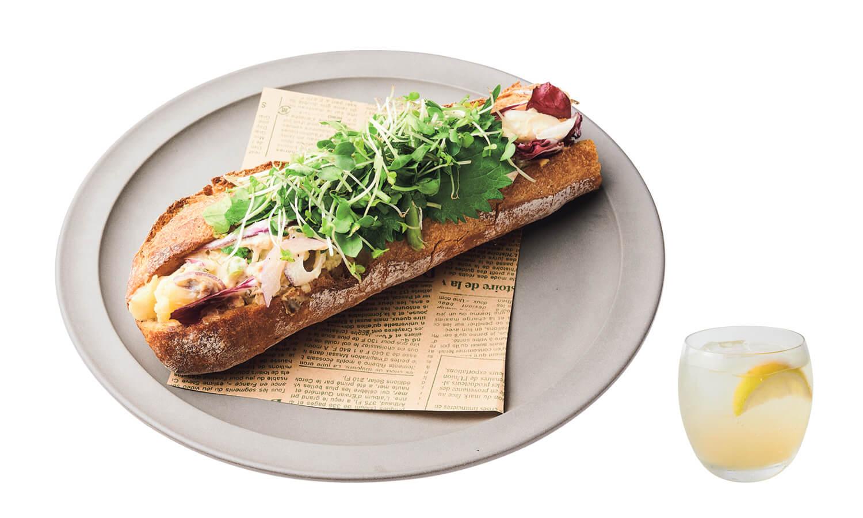 ポテトサラダの鯖サンド × 柚子レモネード