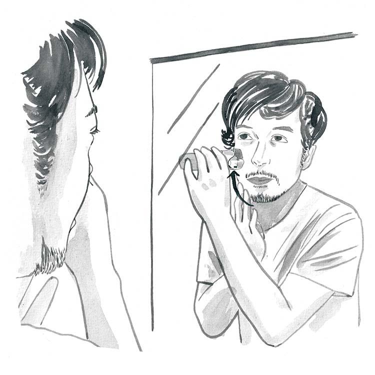 2.凹凸部分は、皮膚を引っ張りながら剃る。アゴ部分やフェイスラインなど、凹凸のある部分は皮膚を指でつまみ、寝ているヒゲを起こしながらやるとスムーズに剃れる。またもみあげなど、比較的長めのヒゲを剃る際は、トリマーを使うと綺麗に剃れるのでおすすめ。