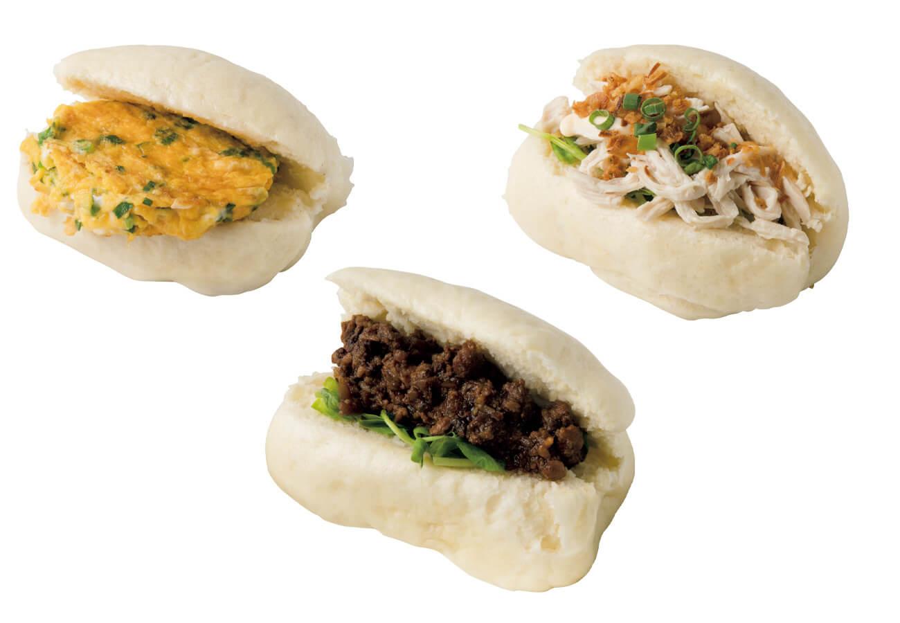 (右上から時計回りに)饅頭夾鶏肉¥390、饅頭夾魯肉¥390、饅頭夾蛋(卵焼きサンド)¥390、