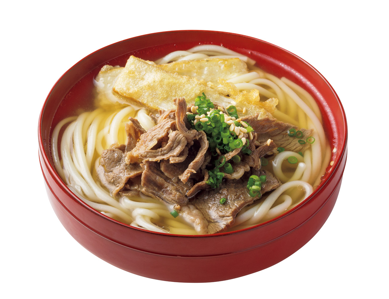 長崎名産の五島うどん(温)肉ごぼ天¥495。