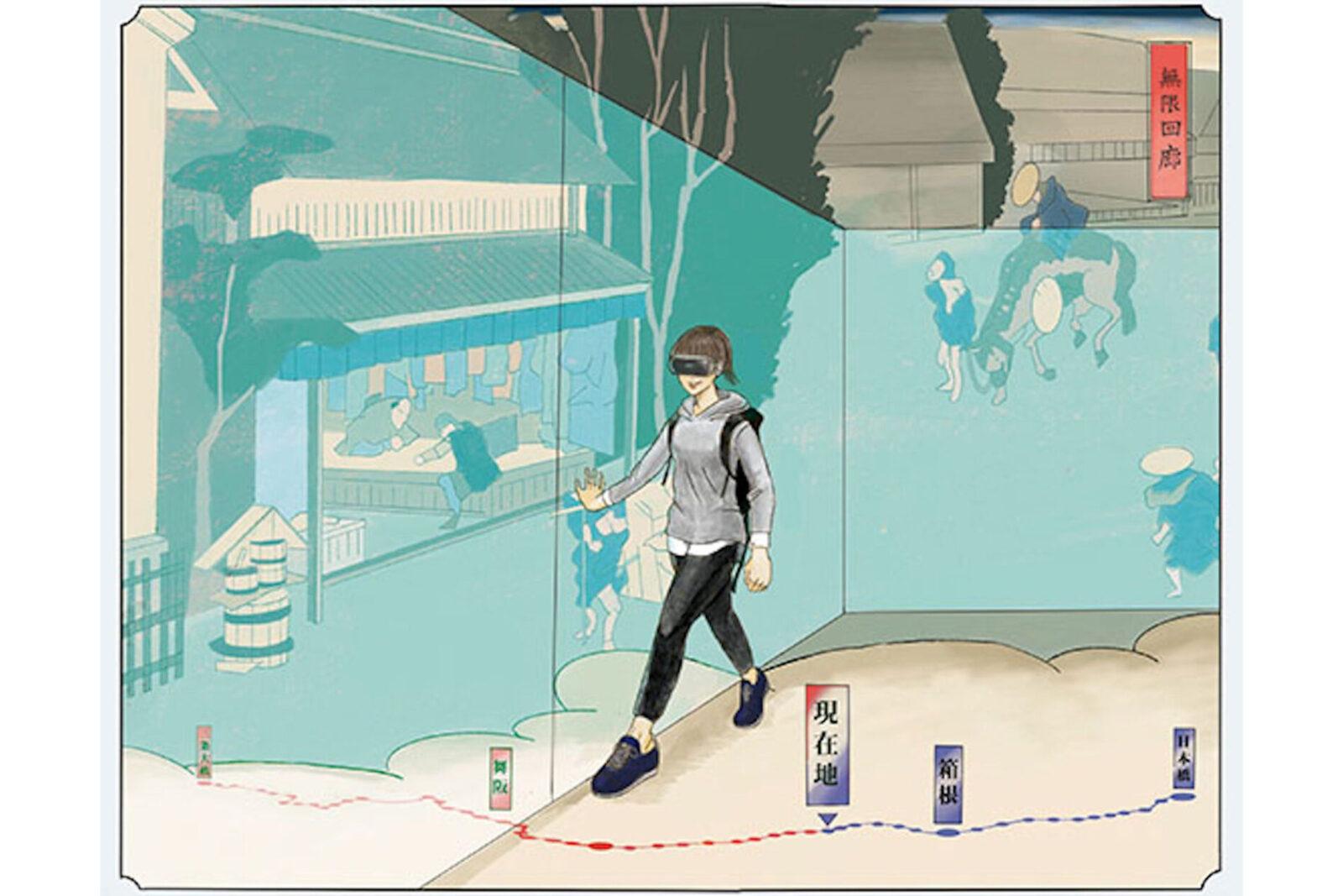 知財 VR無限回廊→妄想 東海道五十三次・超長距離散歩江戸の景色をタイムスリップ気分で。VRゴーグルを装着し、江戸の町を再現した映像の中をぶらり。錯覚効果を利用したVRシステム「VR無限回廊」を使えば、狭いスペースを周回しているだけなのに、真っすぐ歩いているような疑似体験ができる。この技術を応用すると、かつて旅人が約2週間かけて歩いたという東海道495.5㎞を、タイムスリップ気分で楽しく安全に、自分のペースで歩くことができるだろう。新しいウォーキング健康法としても注目だ。