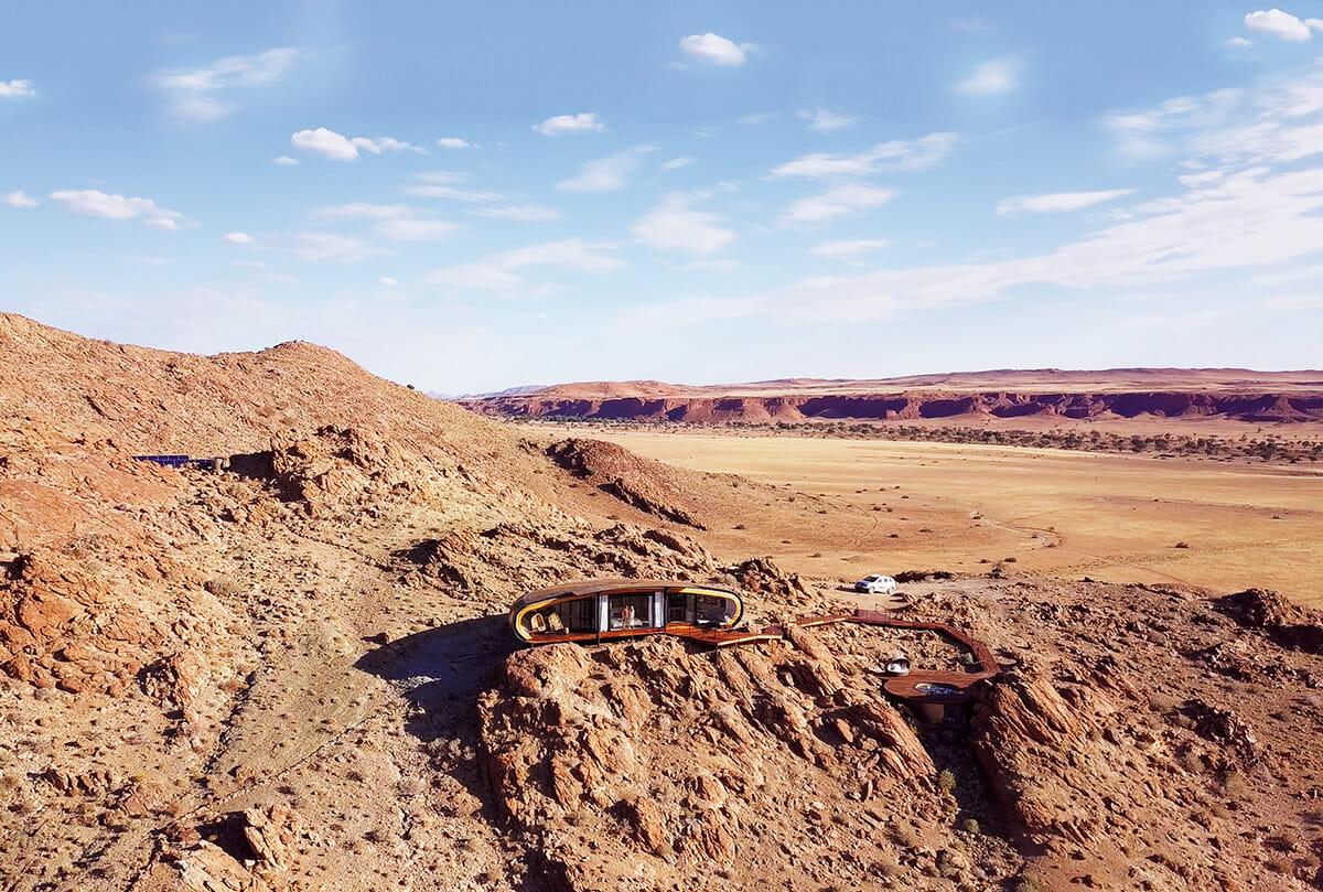 ナミビアのナミブ砂漠にあるポッド状のホテル