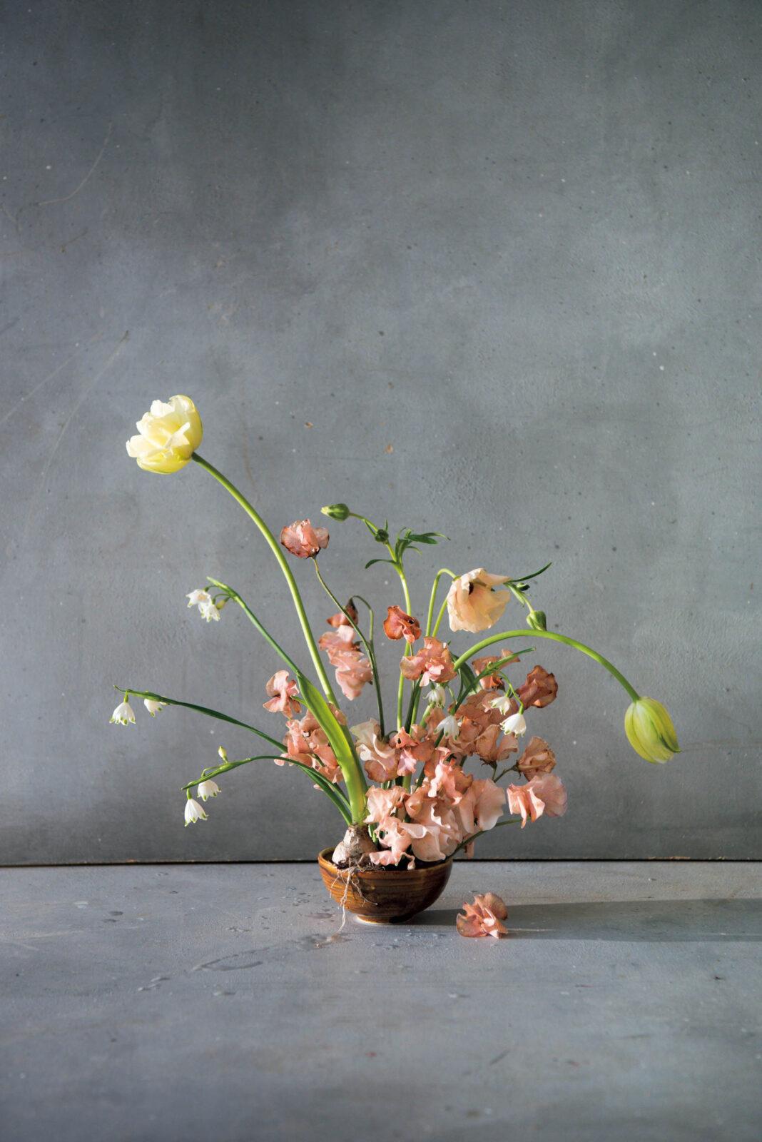 球根の根のはみ出しやスイートピーの落花も作品のうち。40ポンド。