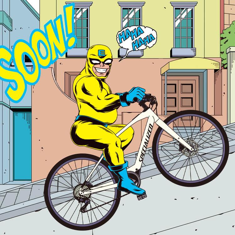 e-bike man(イラスト:Toru Morooka)