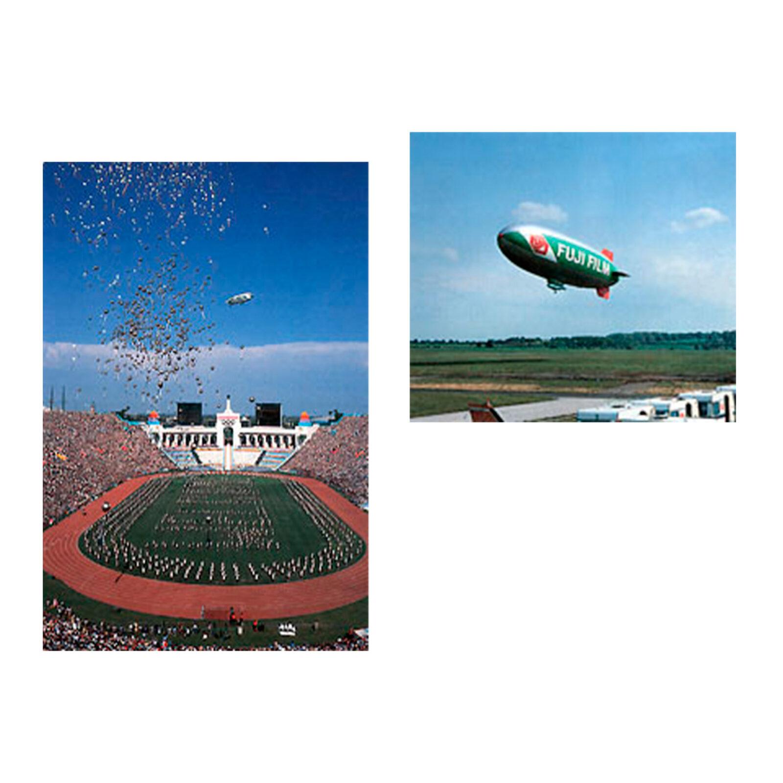 1984年、ロサンゼルスオリンピックの開会式で上空に飛行船「FUJI号」を飛ばしたりも。白抜きの文字で「WELCOME」と大書されていたとか。右の飛行船は81年にヨーロッパ各地を周遊した「DER GROSSE FUJI号」。写真提供:富士フイルム