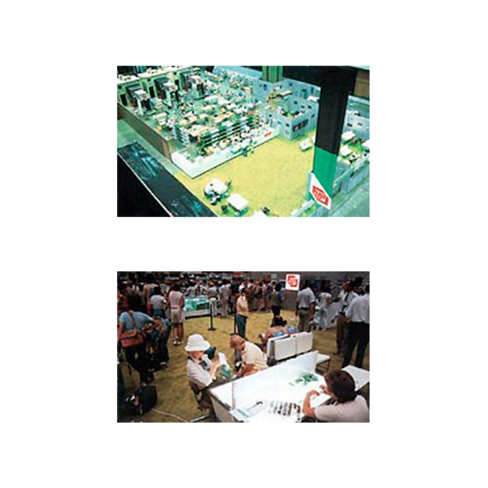 ロス五輪のプレスセンター内には、「フジオフィシャルプロセシングセンター」を設置。世界中から集まった報道陣にフィルムの現像サービスを行なった。広さは1,500平方メートルもあり、カラーリバーサルフィルム(いわゆるポジ)用、カラーネガフィルム用、黒白フィルム用など、全11台の自動現像機が設置され、日本から60名近い技術者が派遣された。写真提供:富士フイルム